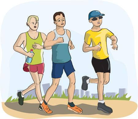 men running marathon Illustration