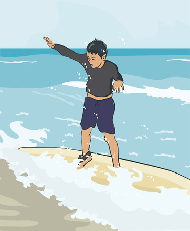 boy learning surfing - realistic vector illustration Illustration