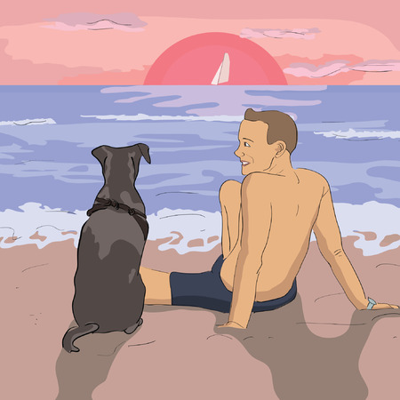 morning walk: man and dog watching sunset at the beach - realistic vector illustration