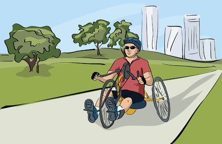 charity drive: disabled man riding bicycle at the park