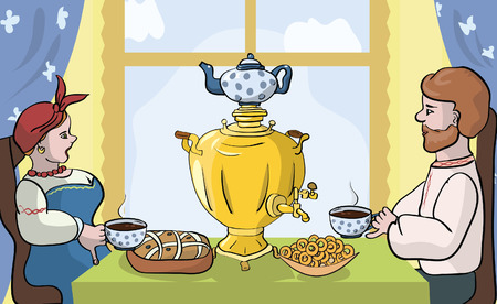 tea party with samovar in Russian or Slavic style