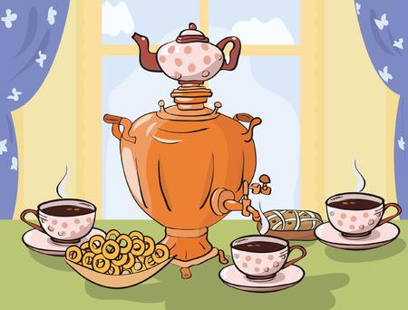 tea table with samovar in Russian or Slavic style Vector