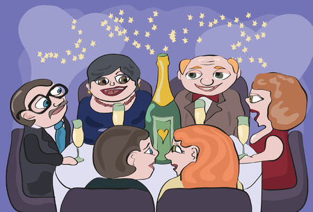 dinner party table: young couple parents acquaintance party Illustration