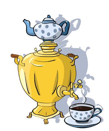 samovar and cup of tea