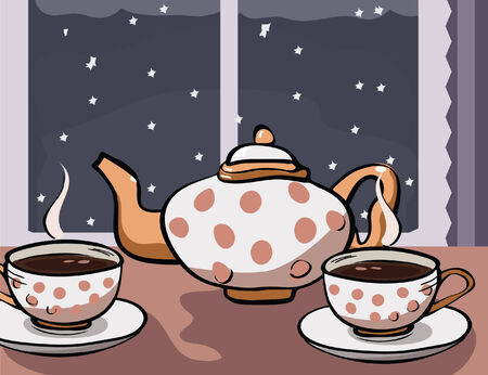 coziness: tea party at winter night