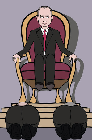 Man on throne and people bowing to him, caricature of personality cult