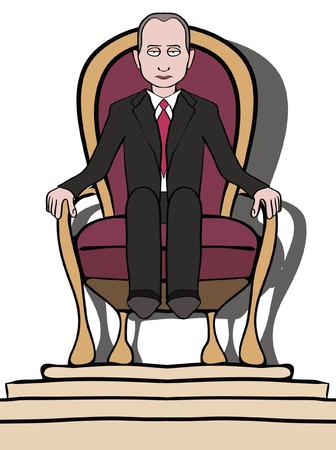 dictator: Man on throne - political dictatorship caricature