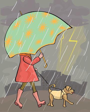 girl walking at rain with dog