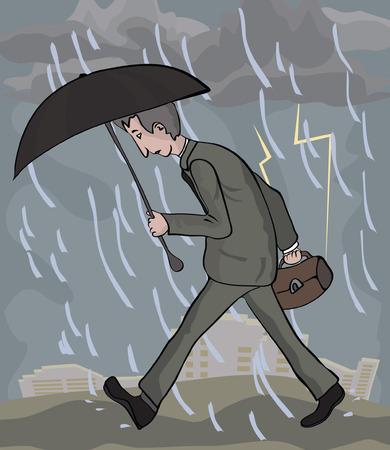 man walking at rainy weather