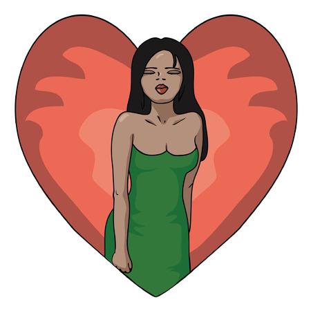 girl insight valentine Illustration