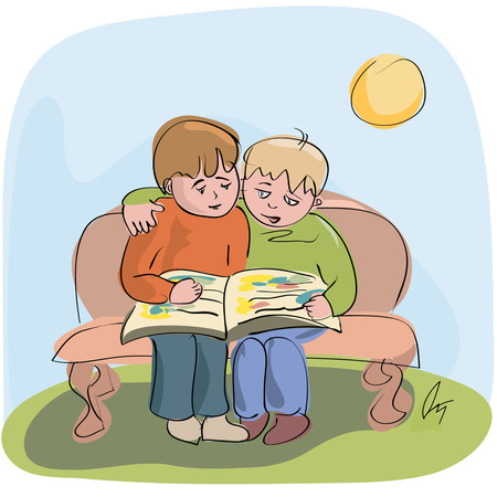 two little boys reading one book outdoors Illustration