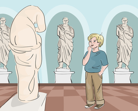 art museum: boy looking at antique statue at museum