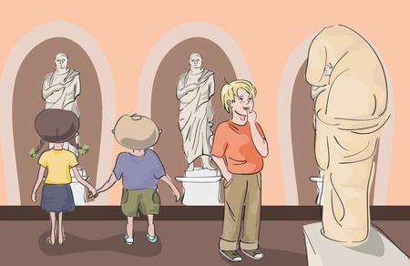 art museum: kids at antique art museum
