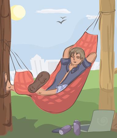 man sleeping in hammock at nature