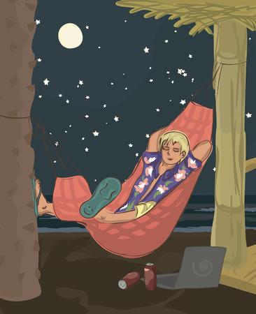 man sleeping in hammock at beach Illustration