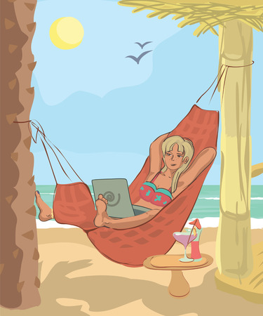 part time: woman working with laptop in hammock at beach