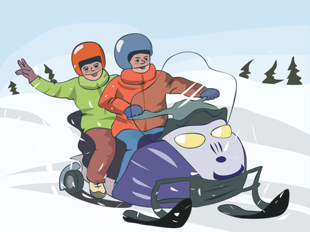 Image result for two people snowmobile cartoons