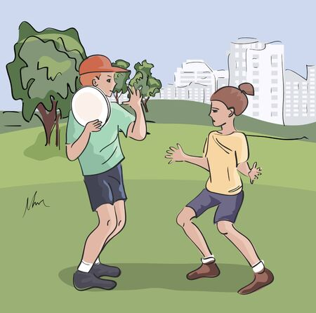 kids playing flying disc at city park Illustration