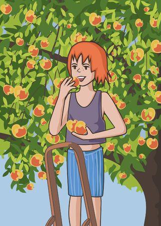 picking: girl picking apples cartoon