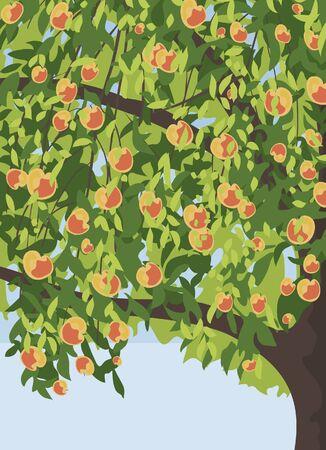 manzana caricatura: manzano con manzanas fondo Vectores
