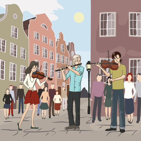 mob: musical flash mob at old city - colorful vector illustration