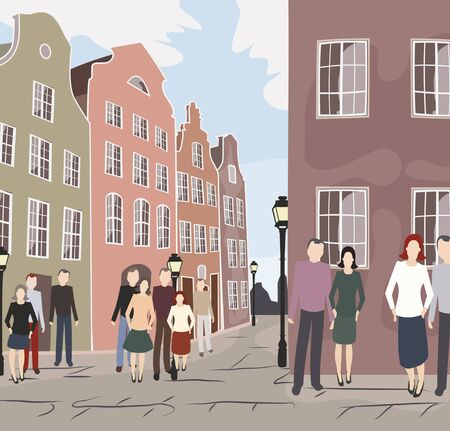 europe: Europe old city street with people - colorful vector illustration Illustration