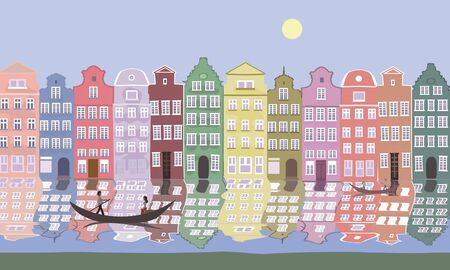 river bank: old europe houses at river bank - colorful vector background