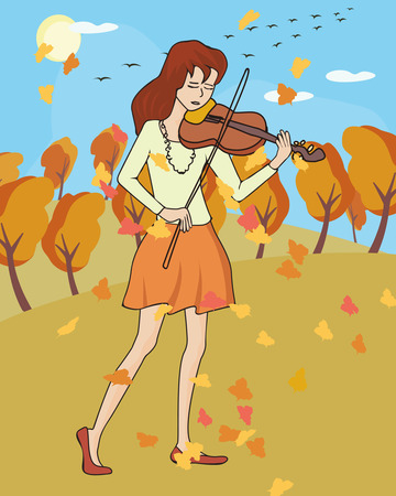 autumn woman: fall music: girl playing violin at fall landscape - colorful vector illustration