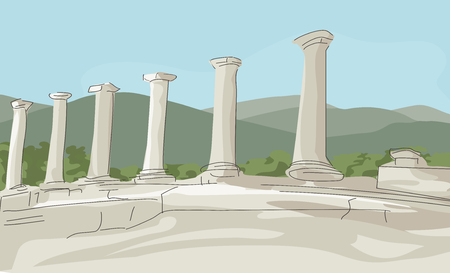 illustrating: image illustrating a beauty of remnants of antique columns at green mountains landscape Illustration