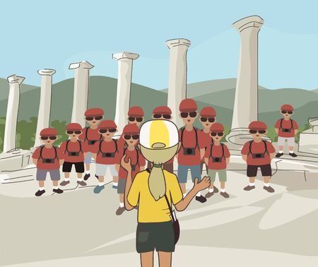 illustrating: cartoon image illustrating an educational tour at classical archeology site