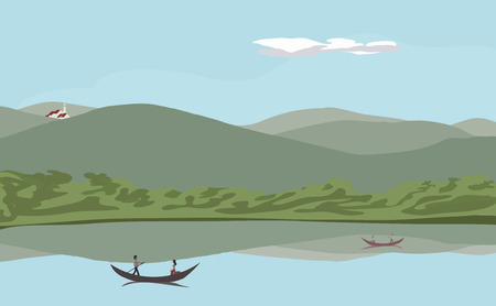 mountain view: vector realistic illustration of tranquil mountain and water view