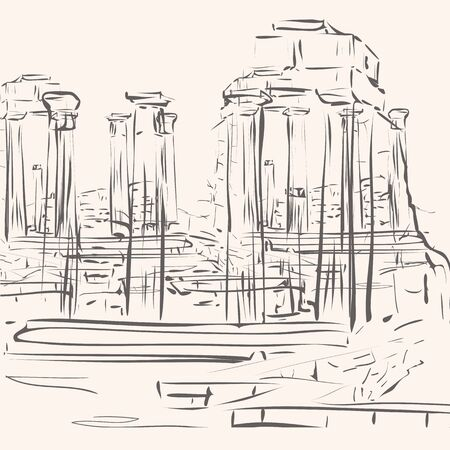 antiquity: hand drawing illustration represented archeological site with classic temple remnants Illustration