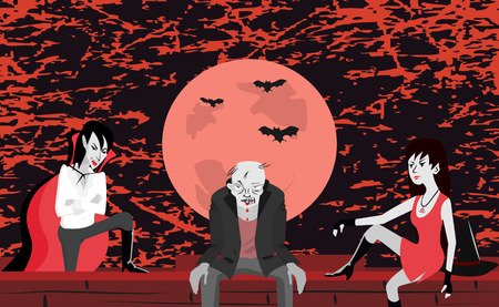 scaring: vampire, zombie and witch sitting on the wall at scaring night - funny cartoon