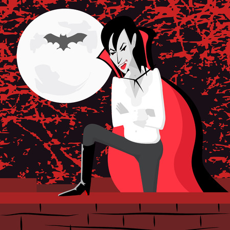 scaring: vampire on the wall looking for victim at scaring night - funny cartoon