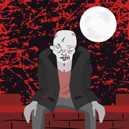 scaring: zombie sitting on the wall at scaring night - funny cartoon