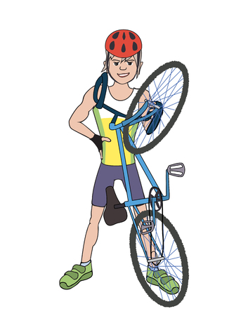 cartoon biker: bicycle rider showing off  - colorful vector illustration