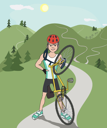 cartoon biker: happy mountain biker after riding mountain trail, colorful cartoon illustration