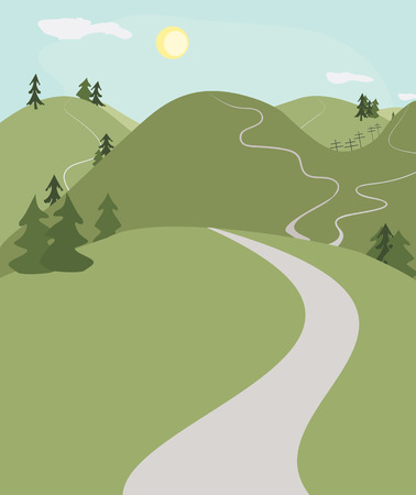 landscape road: hill roads landscape background in cartoon style, symbolizing way to the nature
