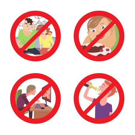 pornography: cartoon fun illustration of improper conduct prohibition signs