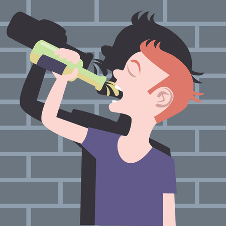 cartoon bottle: humorous cartoon image of teenager drinking beer bottle
