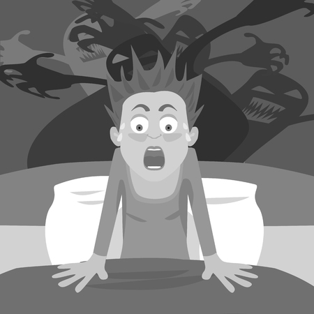 ghost cartoon: waking up from nightmare - black and white cartoon of person having bad dreams