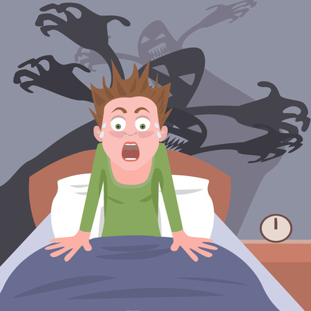 waking up from nightmare -  cartoon of person having bad dreams Çizim
