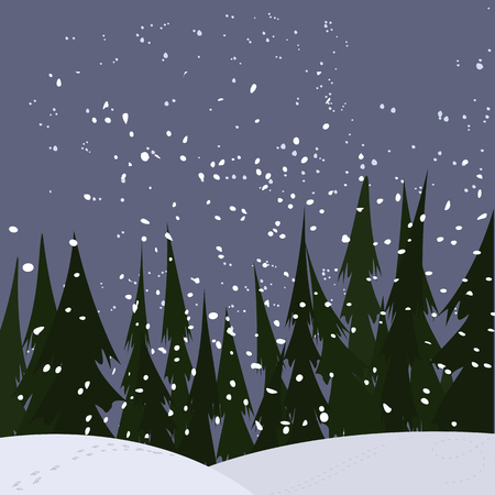 snowfall: strong snowfall at woods, vector winter background