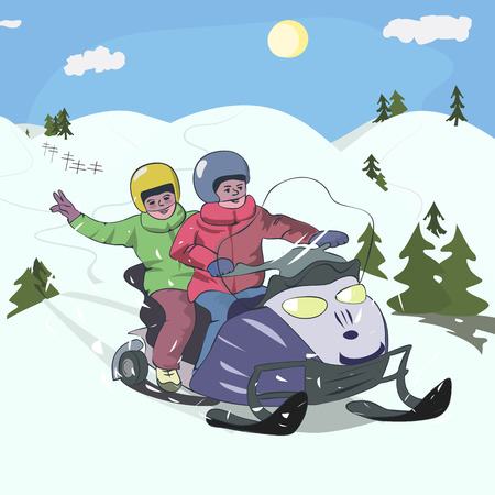 cartoon illustration of boys driving snowmobile at low mountains landscape Illustration