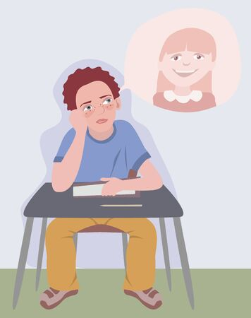 lesson: boy dreaming about girl at school lesson - funny cartoon illustration Illustration