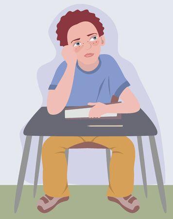 school table: boy dreaming at school table - funny cartoon illustration