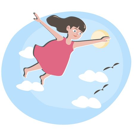 sky sun: small girl flying in blue sky - cute cartoon illustration