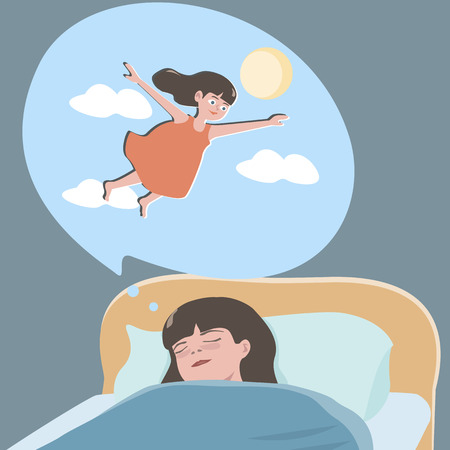 sun bed: small girl dreaming about flight - cute cartoon illustration