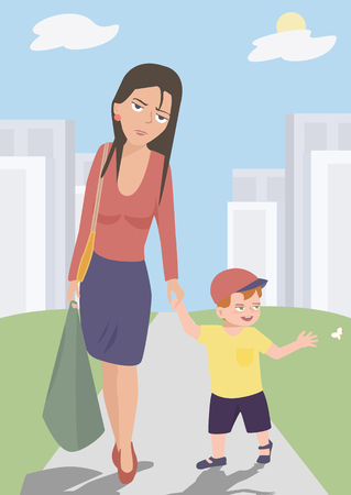 feeling exhausted: funny cartoon of tired mother walking with her baby son