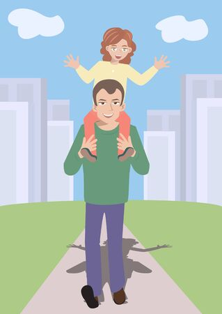 father and child: funny cartoon of father going out to walk with daughter on shoulders